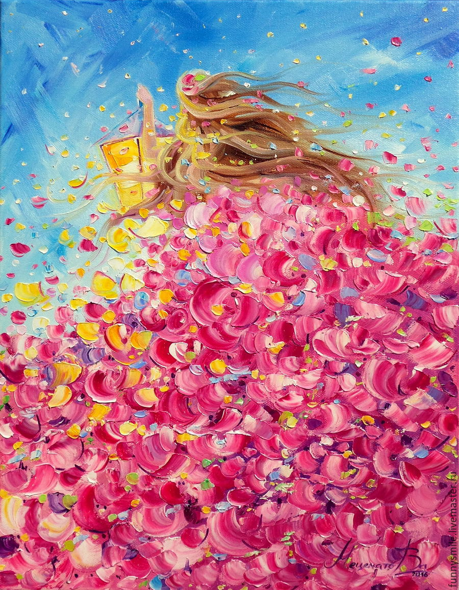 oil painting on canvas with stretcher. Sunny summer. Roses, Pictures, Moscow,  Фото №1