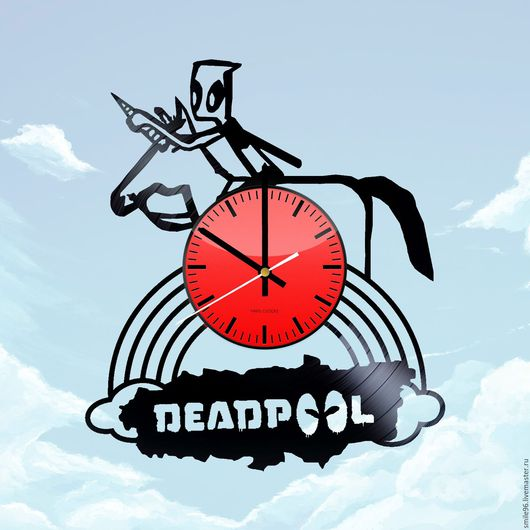"""Часы для дома ручной работы. Ярмарка Мастеров - ручная работа. Купить Часы из пластинки """"DeadPool"""". Handmade. Deadpool, единорог, комбинированный"""