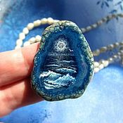 Украшения handmade. Livemaster - original item Pendant with a painting on the stone