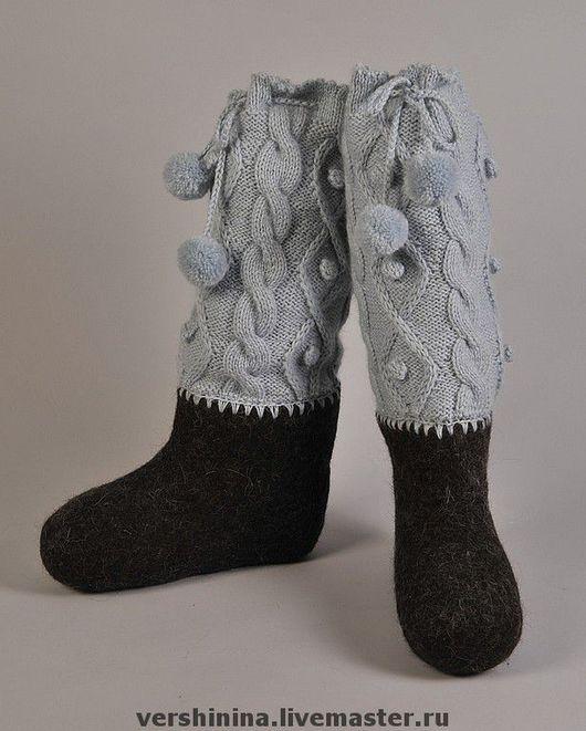 Обувь ручной работы. Ярмарка Мастеров - ручная работа. Купить Уютные валенки. Handmade. Авторские валенки, 100% шерсть