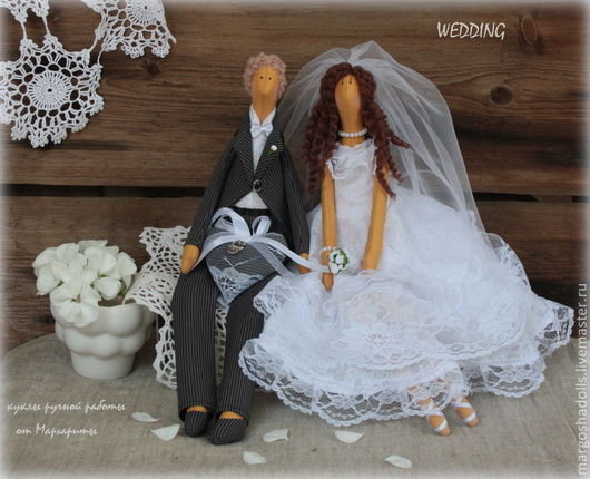 """Куклы Тильды ручной работы. Ярмарка Мастеров - ручная работа. Купить Свадебная пара в стиле Тильда""""Безе"""". Handmade. Белый"""