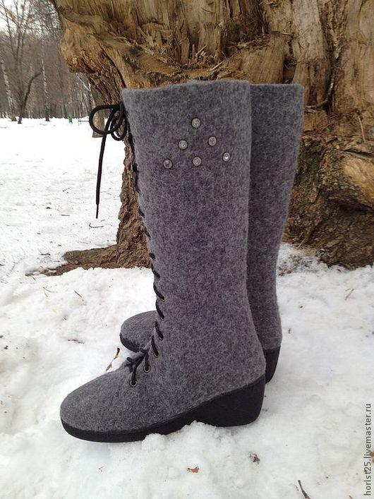 """Обувь ручной работы. Ярмарка Мастеров - ручная работа. Купить Валяные сапожки """"Виолетта"""". Handmade. Темно-серый, подарок"""