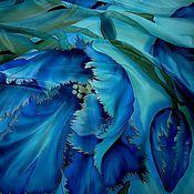 Аксессуары ручной работы. Ярмарка Мастеров - ручная работа Синие тюльпаны на бирюзовом.(платок )90-90см.Крепдешин, 100% шелк.. Handmade.