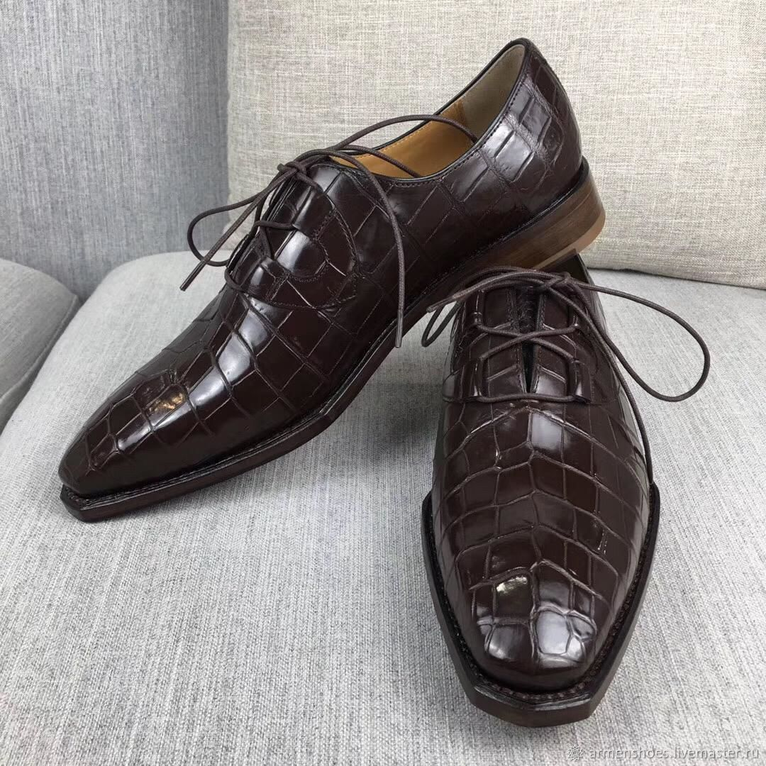 Shoes men's classic, from the selected abdominal part of crocodile skin, Shoes, Tosno,  Фото №1