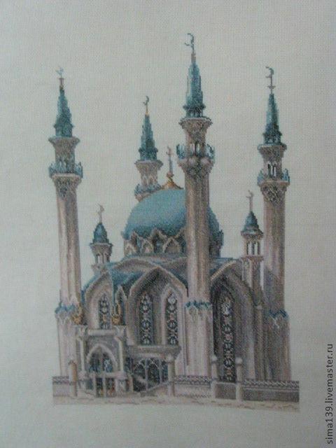 Город ручной работы. Ярмарка Мастеров - ручная работа. Купить Вышитая картина Мечеть Кул-Шариф. Handmade. Ручная вышивка