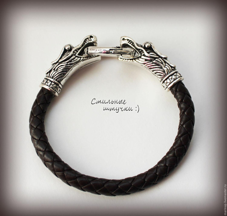 Кожаный браслет с драконами