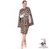 """Одежда ручной работы. Ярмарка Мастеров - ручная работа Кейп, накидка """"Леопард"""" из костюмной ткани на размер 44-54. Handmade."""