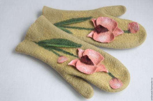 """Варежки, митенки, перчатки ручной работы. Ярмарка Мастеров - ручная работа. Купить Варежки """"Дикая орхидея"""". Handmade. Цветочный"""