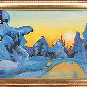 Картины и панно ручной работы. Ярмарка Мастеров - ручная работа Зимний закат. Handmade.