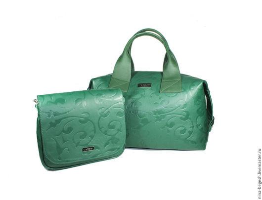 """Женские сумки ручной работы. Ярмарка Мастеров - ручная работа. Купить Комплект сумок """"Кира"""", натуральная кожа, кожаная сумка, зеленый. Handmade."""