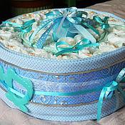 Подарки к праздникам ручной работы. Ярмарка Мастеров - ручная работа Тортик из подгузников для малышей. Handmade.