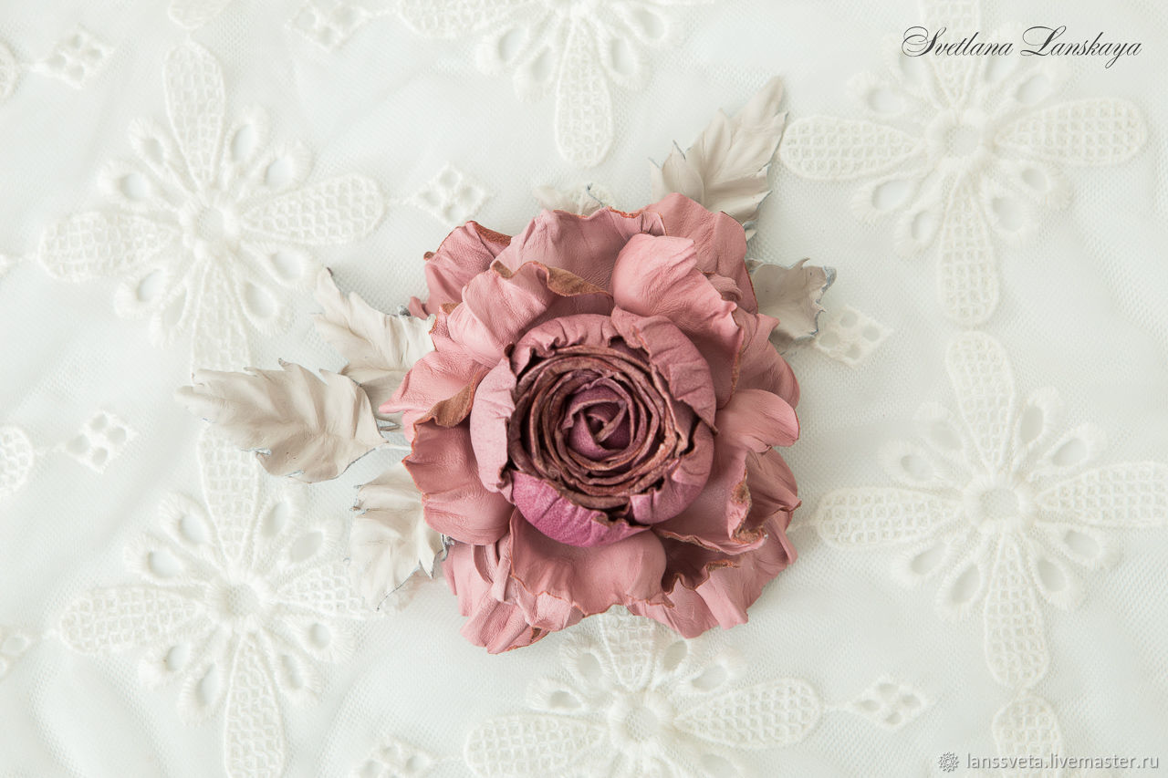 Brooch leather rose Elegance and luxury. Decoration leather, Brooches, Bobruisk,  Фото №1
