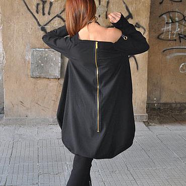 Одежда ручной работы. Ярмарка Мастеров - ручная работа Черная блузка-туника из хлопка - TU0549STR. Handmade.