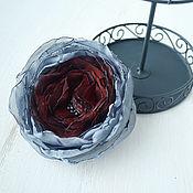 Украшения handmade. Livemaster - original item Brooch made of fabric Grey flower. Handmade.