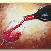 Картины и панно handmade. Livemaster - original item Picture a glass of wine Oil on canvas Oil painting a glass of wine. Handmade.