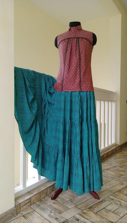 Ярусная юбка из штапеля тёмно-бирюзовая в крапинку, Юбки, Кемерово,  Фото №1