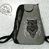 Сумки и аксессуары handmade. Livemaster - original item Textile backpack My wise owl. Handmade.