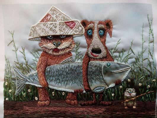 Животные ручной работы. Ярмарка Мастеров - ручная работа. Купить Большая рыба. Handmade. Картина в подарок, ткань-габардин