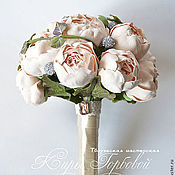 Свадебный салон handmade. Livemaster - original item A bouquet of peach peonies.. Handmade.