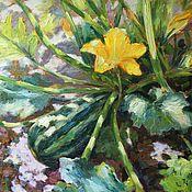 Картины и панно handmade. Livemaster - original item Zucchini. Oil painting 35h40 cm. Handmade.