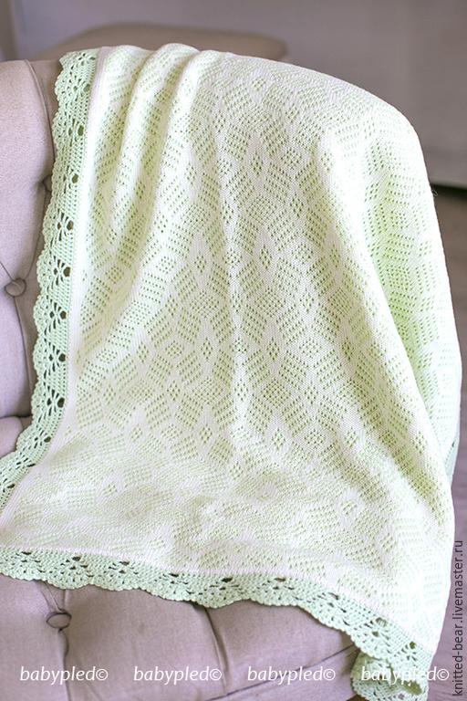 Пледы и одеяла ручной работы. Ярмарка Мастеров - ручная работа. Купить Вязаный детский плед. Handmade. Мятный, подарок новорожденному