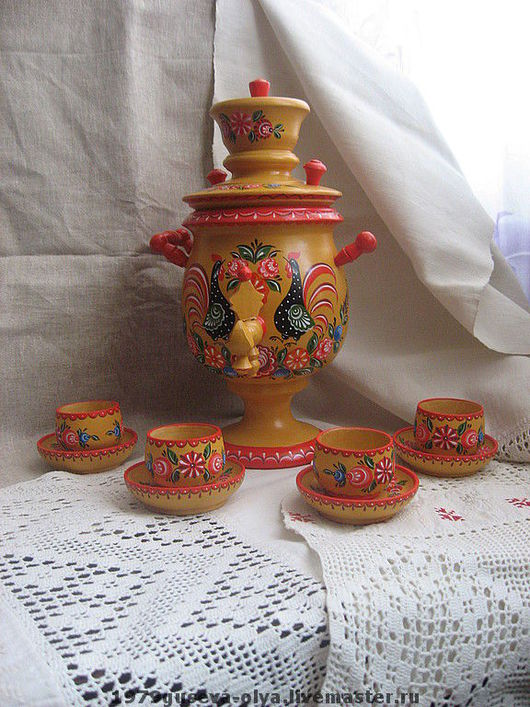 Декоративная посуда ручной работы. Ярмарка Мастеров - ручная работа. Купить самоварчик с блюдцами и чашечками. Handmade. Самовар, дерево