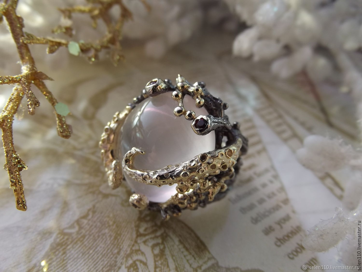 Foam Bay ring with rose quartz and garnets, Rings, Voronezh,  Фото №1