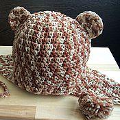 """Работы для детей, ручной работы. Ярмарка Мастеров - ручная работа """"Медвежонок"""" шапочка с ушками и помпонами. Handmade."""