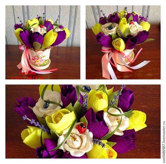 Персональные подарки ручной работы. Ярмарка Мастеров - ручная работа. Купить Тюльпаны в вазоне. Handmade. Комбинированный, свит дизайн, подарки