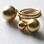 Украшения ручной работы. Ярмарка Мастеров - ручная работа Позолоченное кольцо с тремя шариками. Handmade.
