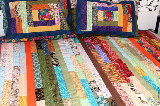 """Текстиль, ковры ручной работы. Ярмарка Мастеров - ручная работа. Купить Лоскутное покрывало """"Цветной дождь-2""""  Пэчворк № 222. Handmade."""