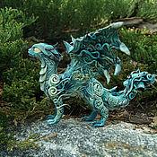 Куклы и игрушки ручной работы. Ярмарка Мастеров - ручная работа Лунный дракон  фигурка дракончик синий бирюзовый в резерве. Handmade.