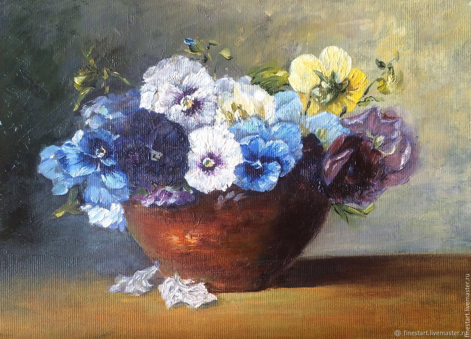 Oil painting flowers pansy shop online on livemaster for Flower paintings on canvas