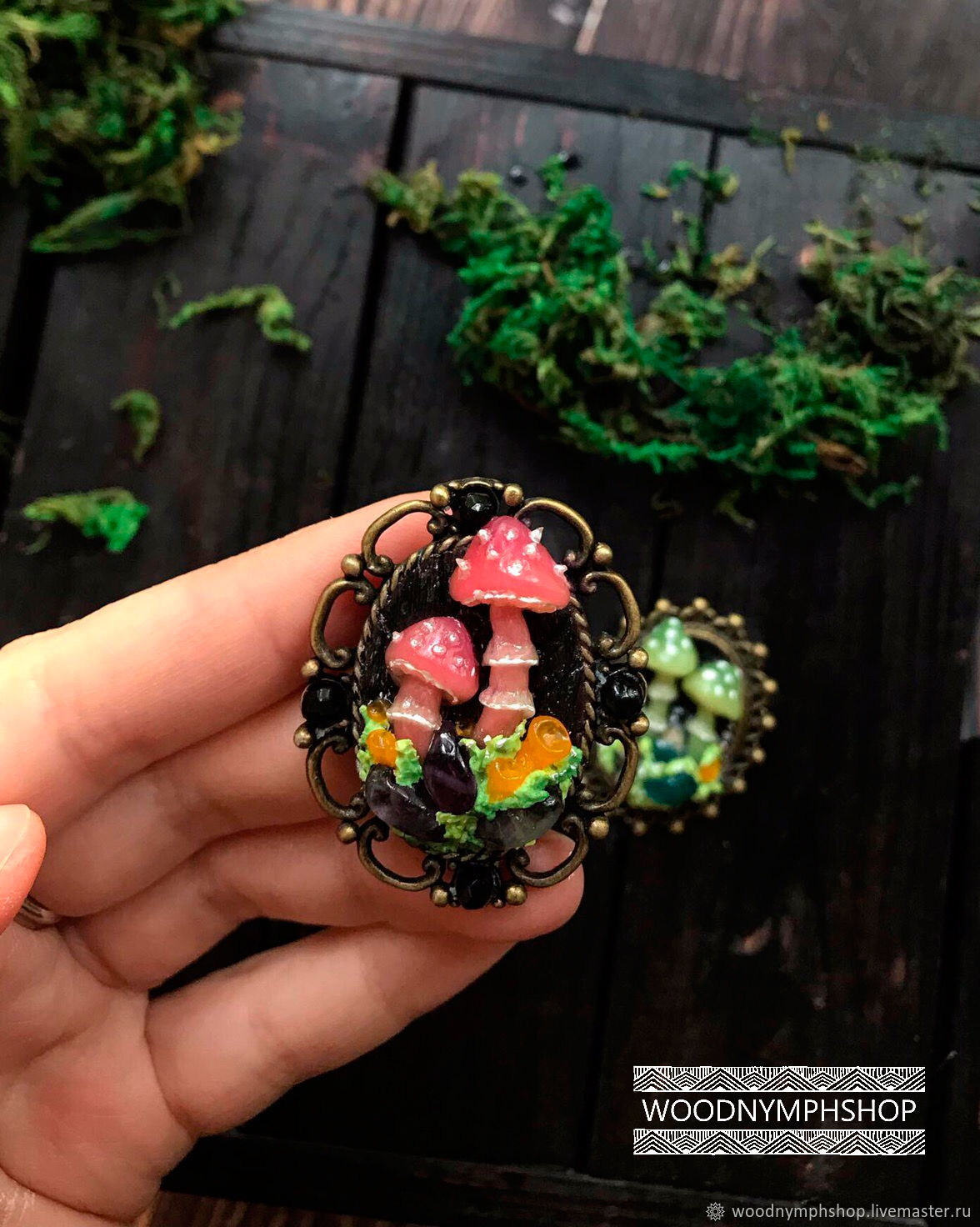 Brooch' Pink mushrooms ' made of polymer clay, Brooches, Korolev,  Фото №1