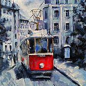 Картины и панно handmade. Livemaster - original item Cityscape Red tram (red black and white picture). Handmade.