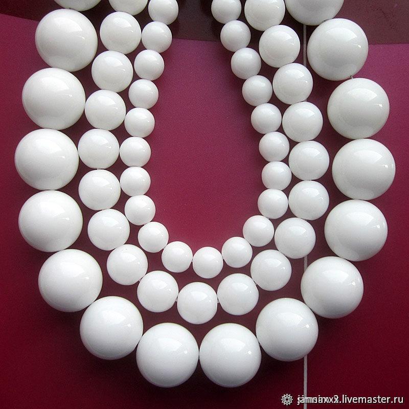 АГАТ белый, гладкий 12 мм, Бусины, Дзержинский,  Фото №1