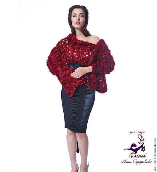 Дизайнер Анна Сердюкова (Дом Моды SEANNA).  Объемный шарф-палантин `Пушистик Бордо`, вязанный из акриловой пряжи бордового цвета. Размер - около 2 м. Цена - 2900 руб.