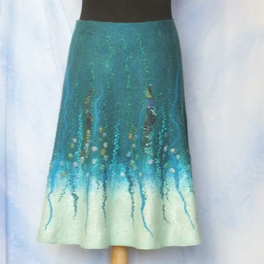 Одежда ручной работы. Ярмарка Мастеров - ручная работа Валяная юбка..Изумрудное море. Handmade.