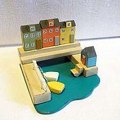 Для дома и интерьера ручной работы. Ярмарка Мастеров - ручная работа миниатюра с пляжным домиком. Handmade.