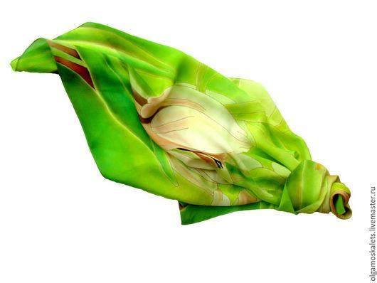 """Шали, палантины ручной работы. Ярмарка Мастеров - ручная работа. Купить Батик платок """"Яркая весна. Крокусы"""". Handmade. Батик"""