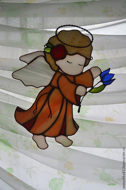 """Элементы интерьера ручной работы. Ярмарка Мастеров - ручная работа. Купить """"Ангелок с подснежником"""". Handmade. Ангел, стекло цветное"""