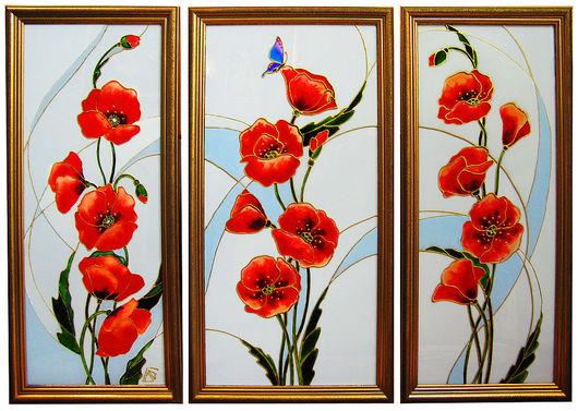 Картины цветов ручной работы. Ярмарка Мастеров - ручная работа. Купить Триптих Красные маки, витражная роспись по стеклу. Handmade.