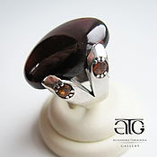 Украшения handmade. Livemaster - original item Fashion ring with hessonite garnets. 925 sterling silver PR.. Handmade.