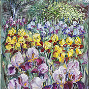 Картины и панно handmade. Livemaster - original item Pictures: Irises in the garden. Handmade.