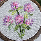 handmade. Livemaster - original item Embroidered panels: Red clover. Embroidery on the hoop.. Handmade.