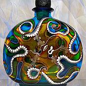 Посуда ручной работы. Ярмарка Мастеров - ручная работа Бутылка Осьминог, витражная роспись. Handmade.