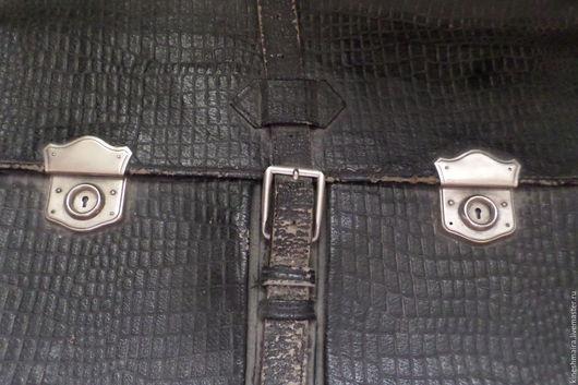 Винтажные книги, журналы. Ярмарка Мастеров - ручная работа. Купить Старинный кожаный мужской портфель ... Handmade. Черный, раритет, одежда