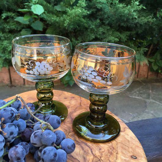 """Винтажные сувениры. Ярмарка Мастеров - ручная работа. Купить Бокалы для вина """"Виноград"""" 7 штук.. Handmade. Стекло, ручная работа"""