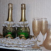 Свадебный салон ручной работы. Ярмарка Мастеров - ручная работа Оформление к свадьбе: шампанское, корзинка, бокалы. Handmade.