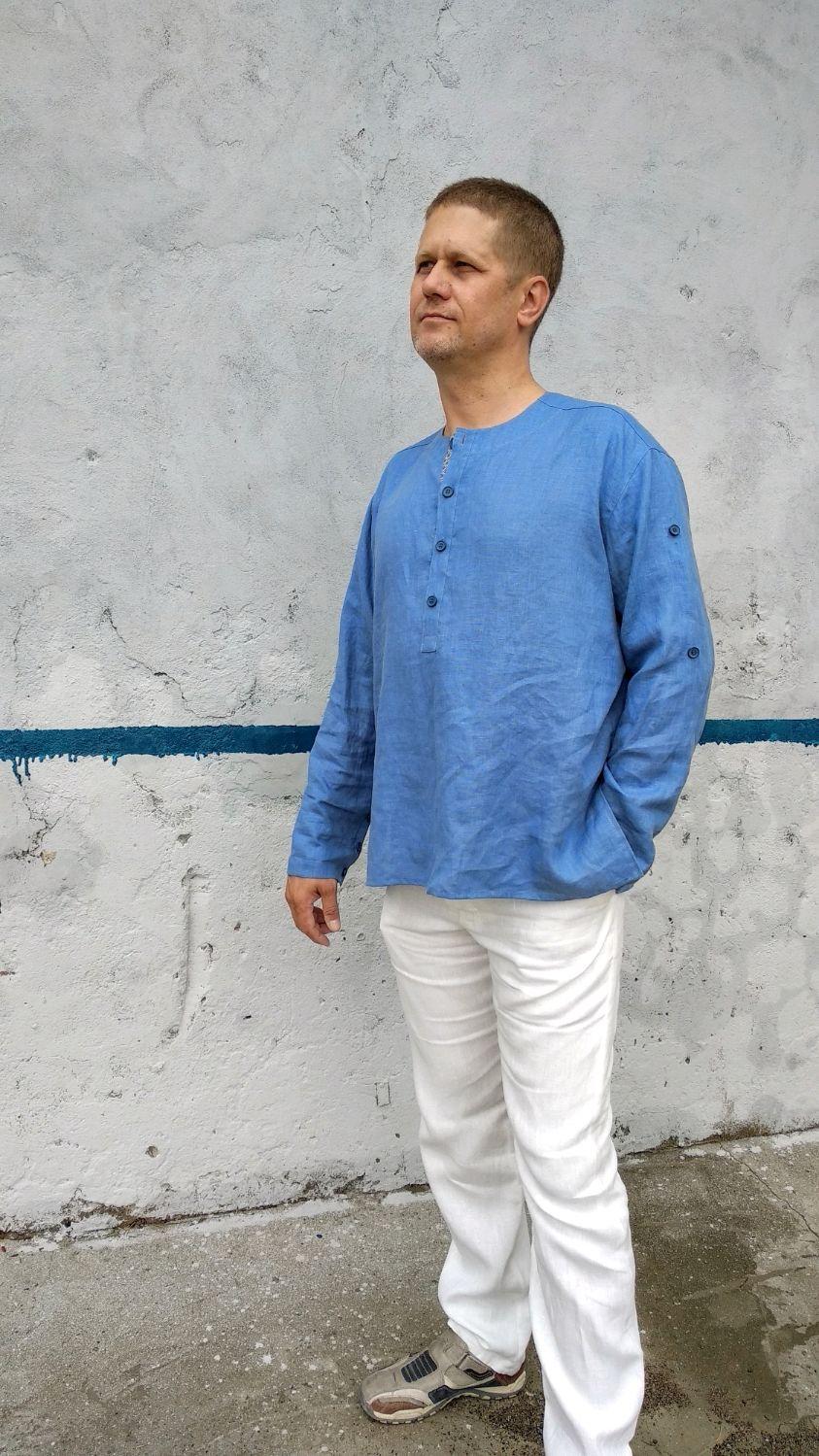 Мужская рубашка из льна без воротника с длинным рукавом, Рубашки мужские, Новороссийск,  Фото №1